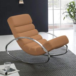 FineBuy Design-Schaukelstuhl, braun